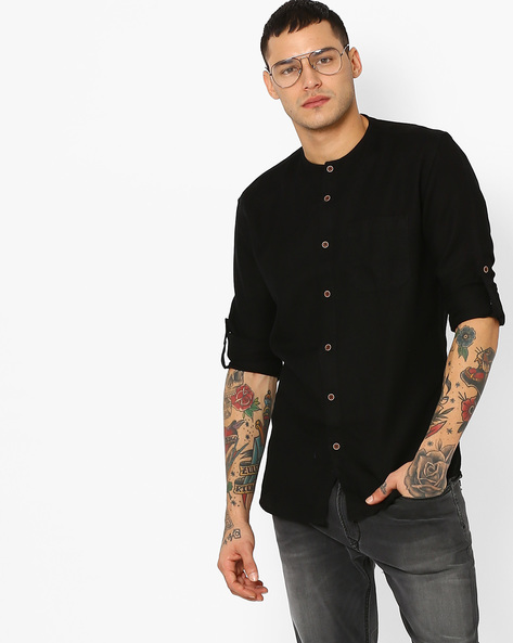 Slim Fit Cotton Shirt By British Club ( Black )
