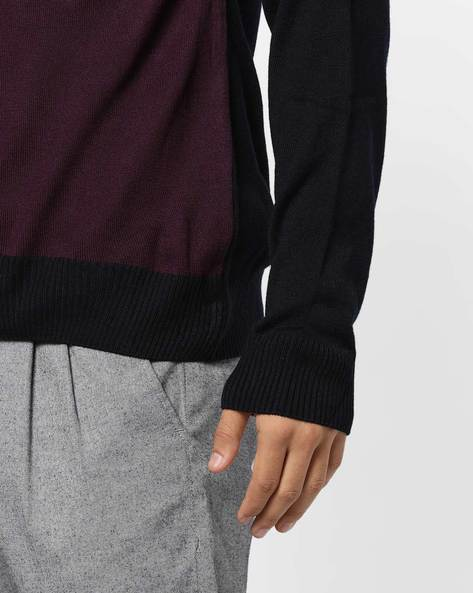 Colourblock Crew-Neck Pullover By NETWORK ( Purple )