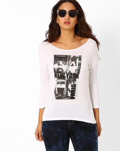 Graphic Print Top By AJIO ( White )