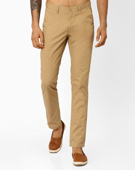 Slim Fit Cotton Trousers By JOHN PLAYERS ( Yellow )