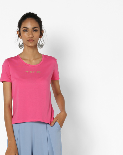 Cotton T-shirt With Printed Branding By UNITED COLORS OF BENETTON ( Pink )
