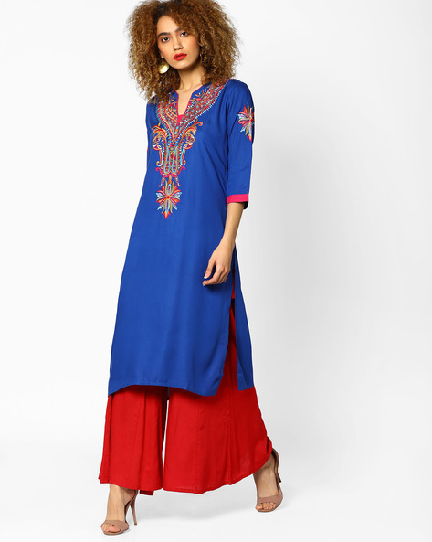 Embroidered Straight Kurta With Mandarin Collar By Shree ( Blue )