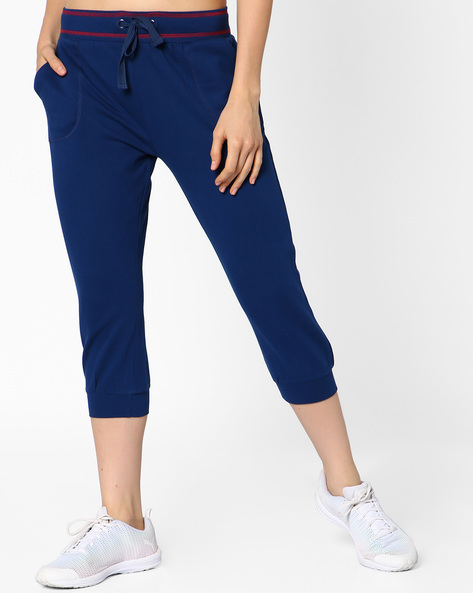 French Terry Track Pants With Drawstring Fastening By AJIO ( Blue )