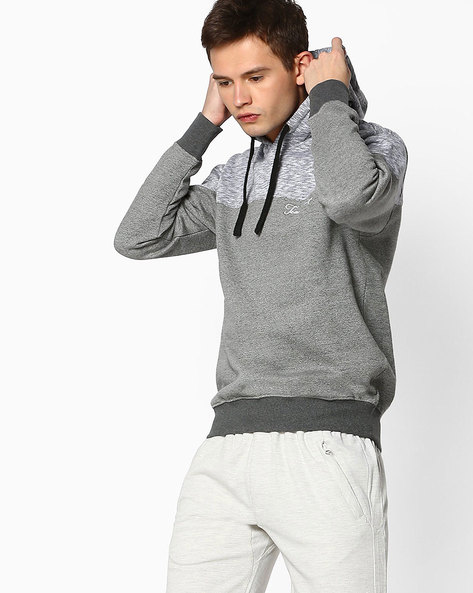 Cut & Sew Sweatshirt With Hoodie By TEAM SPIRIT ( Greymelange )
