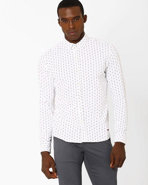 Printed Slim Fit Shirt By SPYKAR ( White )