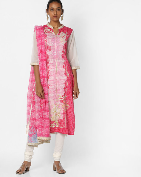 Printed Kurta Suit Set With Dupatta By AURELIA ( Pink )