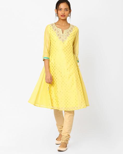 Foil Print Panelled Kurta By AJIO ( Yellow )