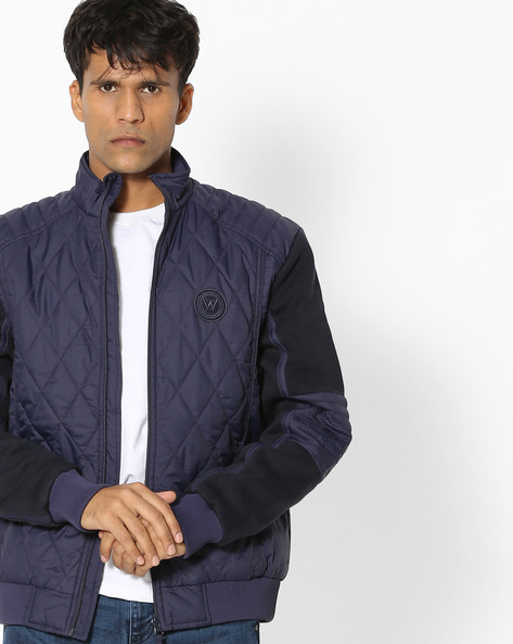Quilted Jacket With Panelled Sleeves By WRANGLER ( Blue )