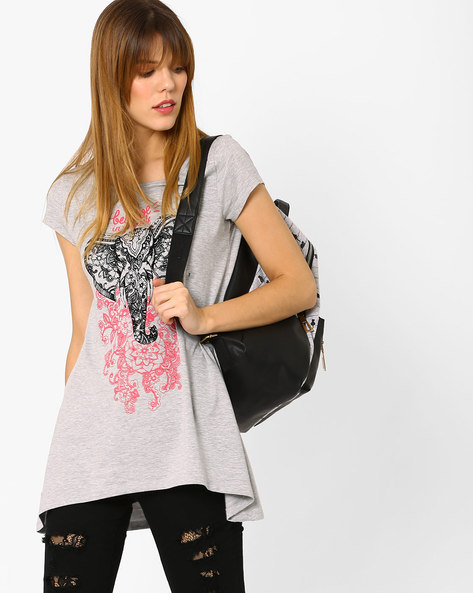Graphic Print T-shirt With Flared Hem By Ajile By Pantaloons ( Greymelange )