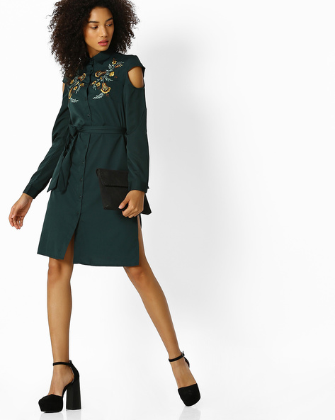 Embroidered Shirt Dress With Cutout Sleeves By Oxolloxo ( Green )