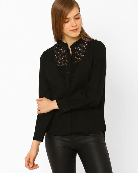 Shirt With Mandarin Collar & Lace Yoke By CHM ( Black )