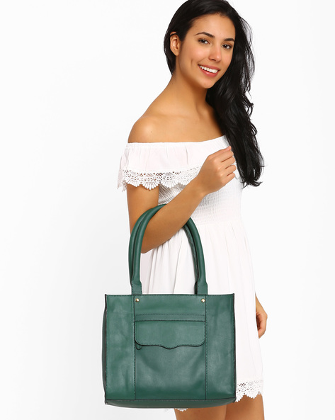 Tote Bag With Flap Pocket By AJIO ( Green )