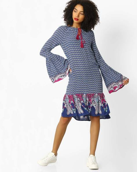 Shift Dress With Bell Sleeves By Rena Love ( Multi )