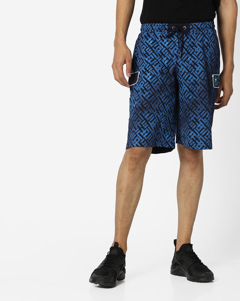 Patterned Shorts With Patch Pockets By FILA ( Blue )
