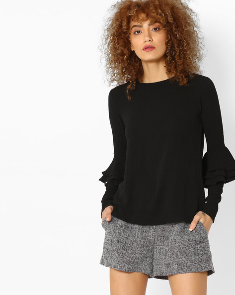 Top With Ruffled Design By Femella ( Black )