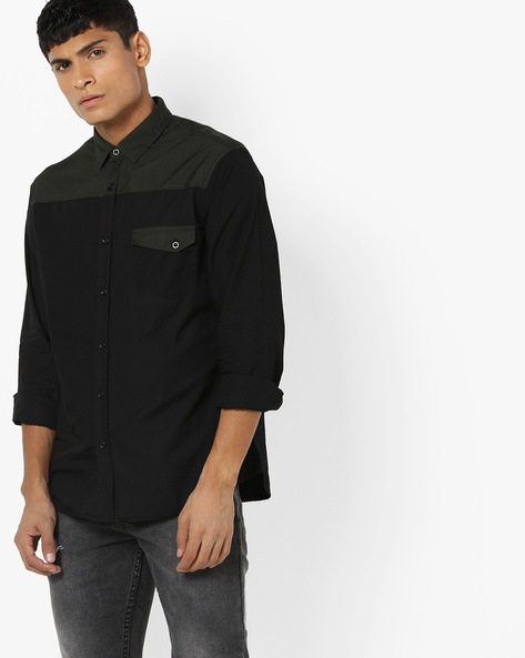 Colourblock Slim Fit Shirt With Flap Pocket By AJIO ( Olive )