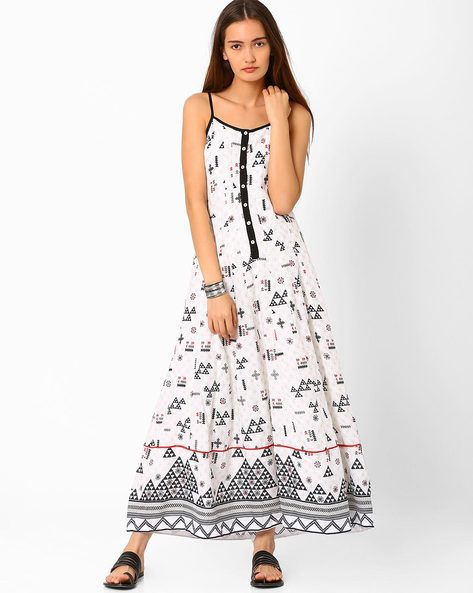 Printed Maxi Dress By Biba ( White )