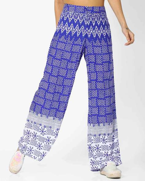 Flat Front Printed Palazzos By Global Desi ( Printed )