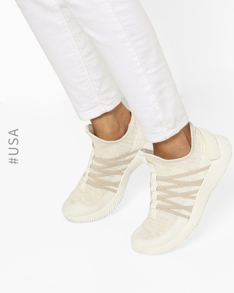 Slip-On Casual Shoes With Elastic Lace-Up By QUPID ( Champagne )