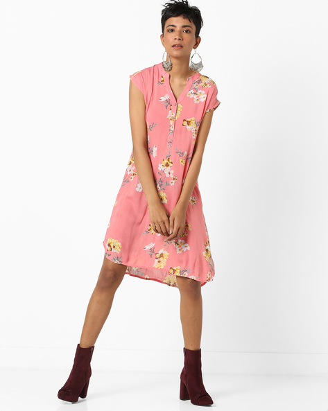 Floral Print Tunic With High-Low Hem By AJIO ( Coral )