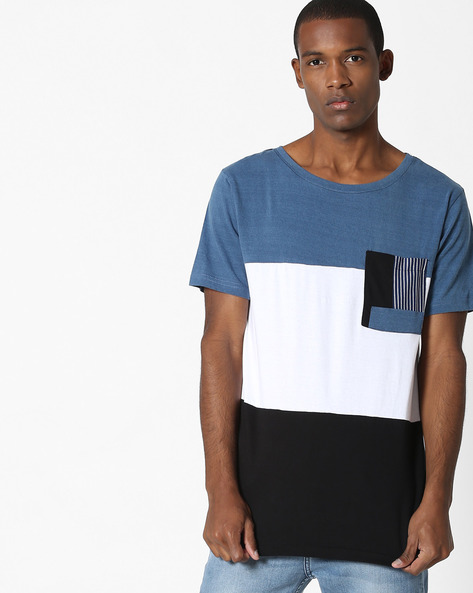 Cut & Sew Colourblocked T-shirt By ADAMO LONDON ( Multi )