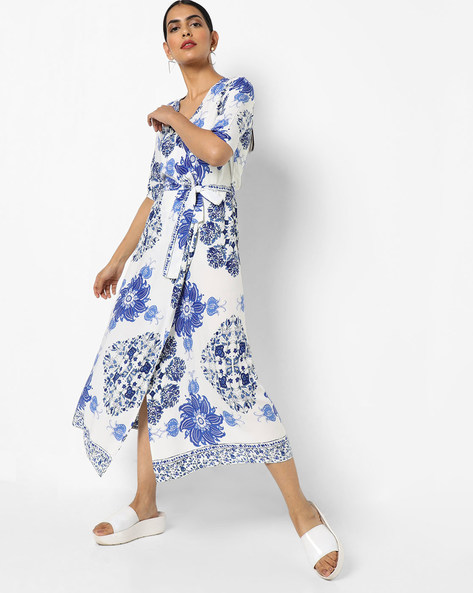 Floral Print Wrap-Around Dress By AJIO ( White )