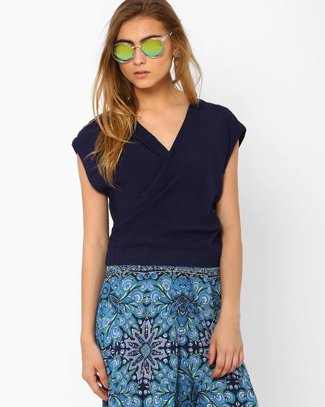 Top With Overlapping Neckline By Oxolloxo ( Blue )