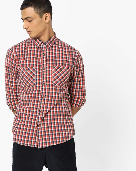 Check Shirt With Twin Pockets By AJIO ( Black )