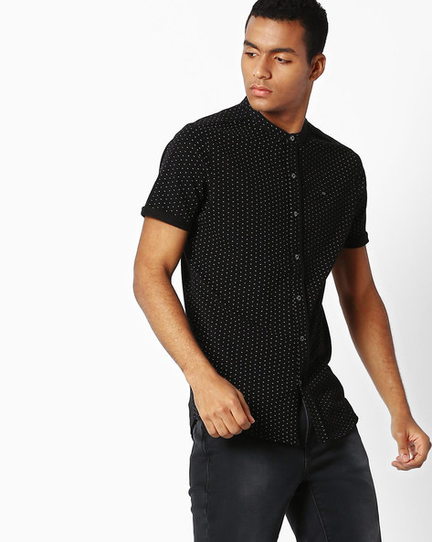 Printed Slim T-shirt With Button Placket By SPYKAR ( Black )