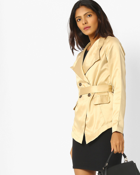 Trench Coat With Fabric Belt By Sassafras ( Beige )