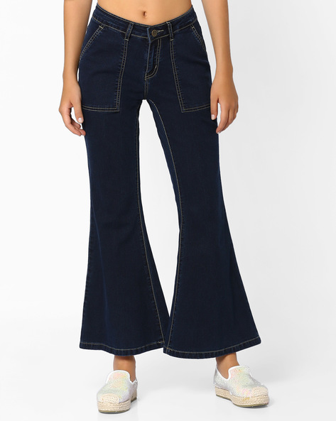 Wide-Leg Jeans With Insert Pockets By AJIO ( Blue )