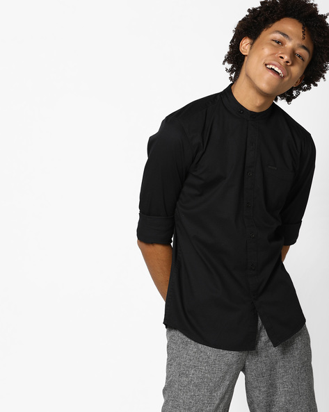 Cotton Shirt With Patch Pocket By WRANGLER ( Black )