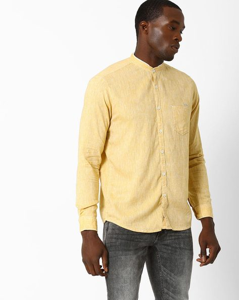 Cotton Shirt With Band Collar By SIN ( Yellow )