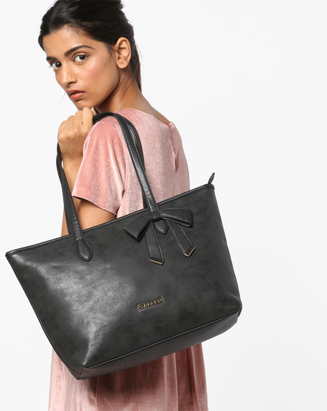 Alexandria Tote Bag With Zip Closure By CAPRESE ( Black )