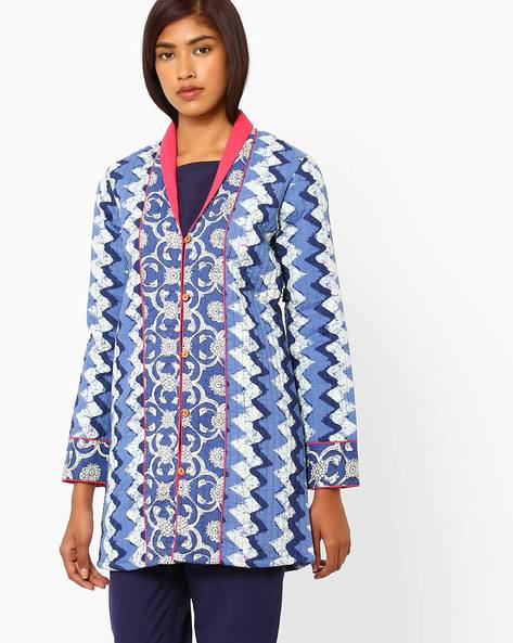 Printed Quilted Jacket By AJIO ( Navyblue )