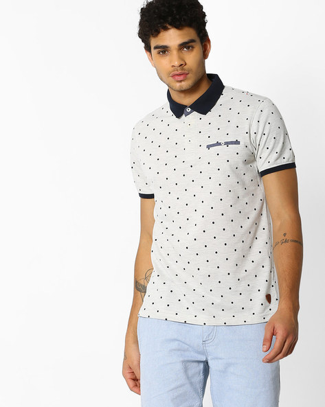 Polka-Dot Print Polo T-shirt By NETPLAY ( Offwhite )