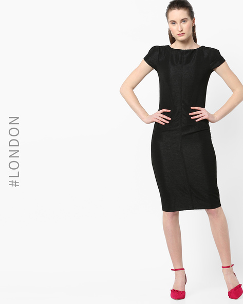 Bodycon Dress With Cap Sleeves By Closet London ( Black )