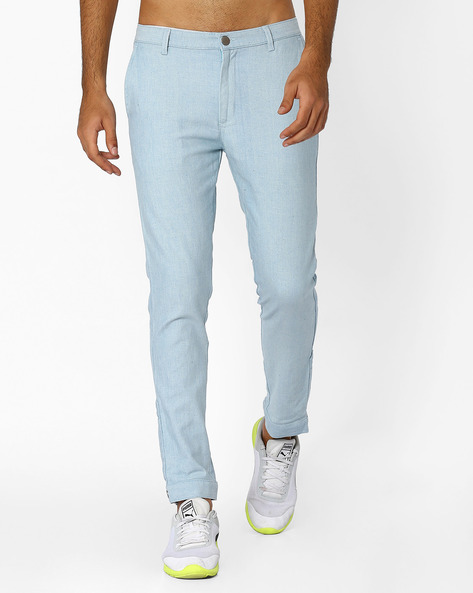Tapered Jeans With Adjustable Hems By ANTIFERRO ( Lightblue )