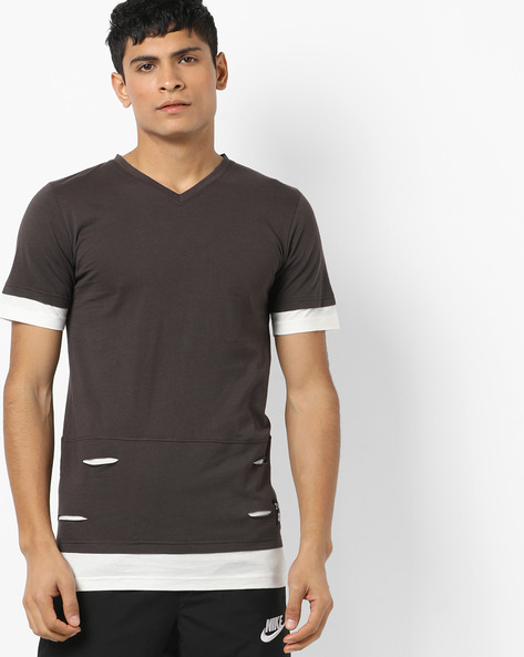 Slim Fit Cotton T-shirt With Cut Outs By KULTPRIT ( Charcoal )