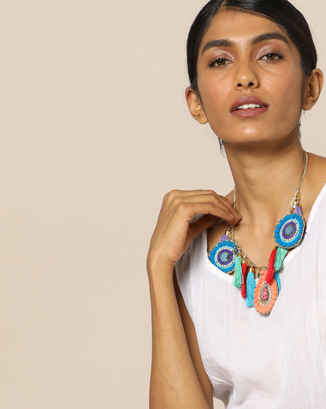 Beaded Statement Necklace By Indie Picks ( Blue ) - 460121412001