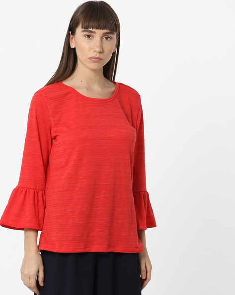 Cotton Top With Flounce Sleeves By FIG ( Coral )