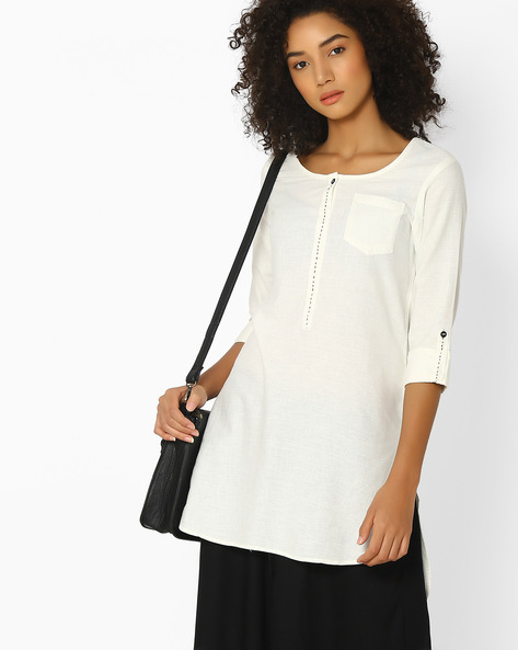 High-Low Kurti With Patch Pocket By AVAASA WORKWEAR ( Offwhite )