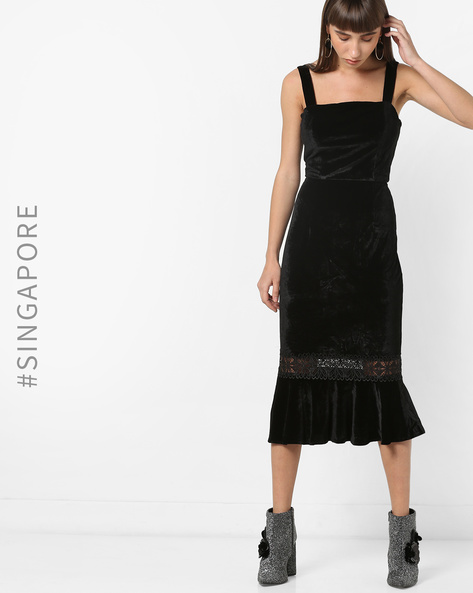 Strappy Mermaid Dress With Lace Insets By MDS ( Black )