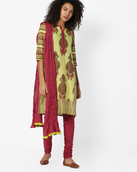 Printed Straight Churidar Kurta With Dupatta By AVAASA SET ( Olive )