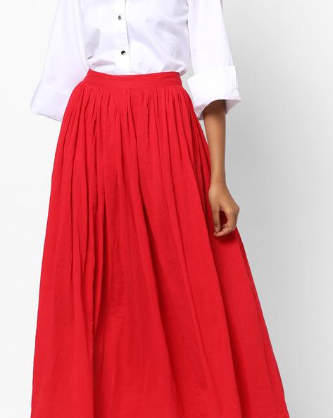 Flared Skirt With Gota Hemline By AJIO ( Red )