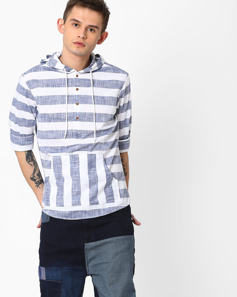Striped Hooded Shirt By AJIO ( Offwhite )