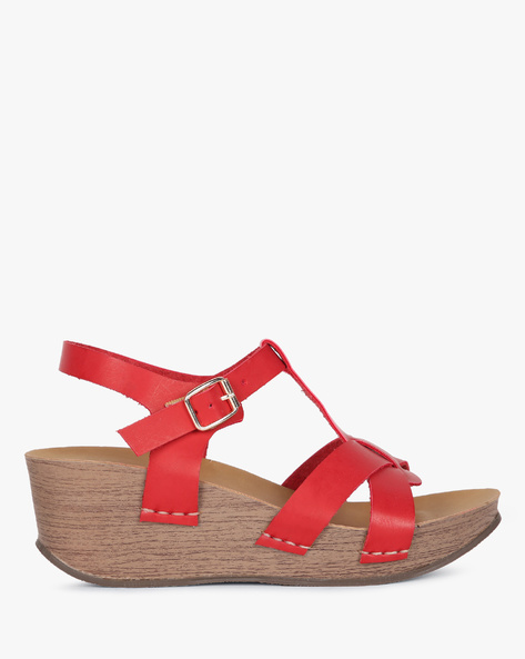 Open-Toed Wedges With Buckle Closure By Lavie ( Red )