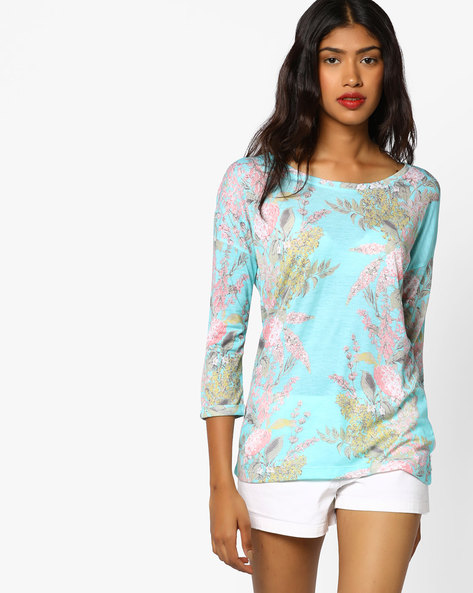 Floral Print Top With Drop-Shoulder Sleeves By BOSSINI ( Aqua )