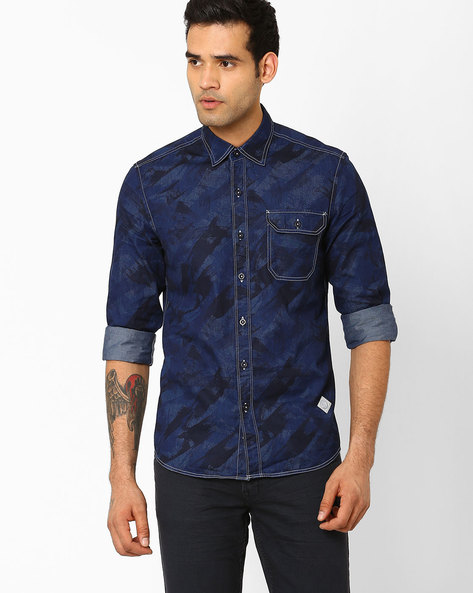 Camouflaged Slim Shirt With Flap Pocket By Lee ( Indigo )