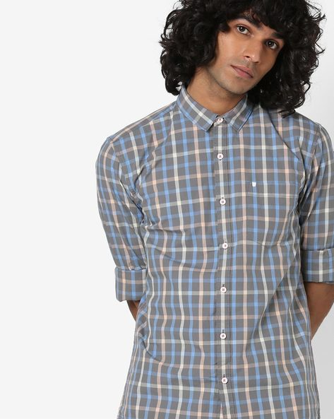 Checked Shirt With Patch Pocket By WRANGLER ( Grey )